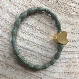 Lupe Heart Charm 2 in 1 Hairband Bracelet - Khaki Gold