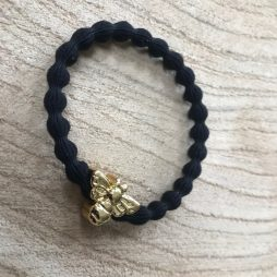 Lupe Bee Charm Stackable 2 in 1 Hair Tie Bracelet - Black Gold Wristee