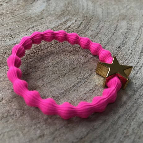 Lupe Star Charm 2 in 1 Hair Tie Bracelet - Hot Pink Gold