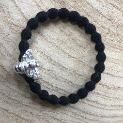 Lupe Bee Charm Stackable 2 1n 1 Hair Tie Bracelet - Black Silver Wristee