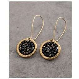 Danon Jewellery Rock On Long Drop Swarovski's Crystal Earrings Gold and Black