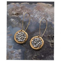 Danon Jewellery Rock On Long Drop Swarovski's Crystal Earrings Gold and Clear