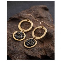 Danon Jewellery Rock Chic Crystal Drop Hoop Earrings Gold and Black