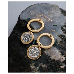 Danon Jewellery Rock Chic Crystal Drop Hoop Earrings Gold and Clear