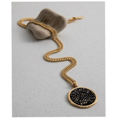 Danon Jewellery Long Gold Plated Necklace with Black Swarovski Crystals Pendant