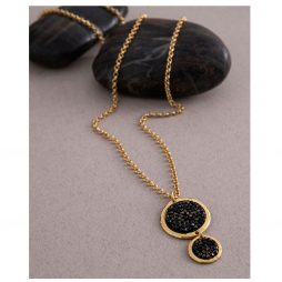 Danon Jewellery Long Gold Plated Bubbles Necklace with Black Swarovski Crystals
