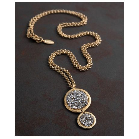 Danon Jewellery Long Gold Plated Bubbles Necklace with Swarovski Crystals