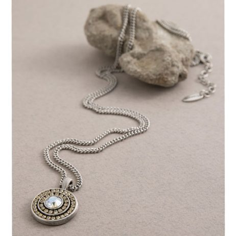 Danon Jewellery Louis 14th Long Necklace Silver Plated with Swarovski Crystals Pendant