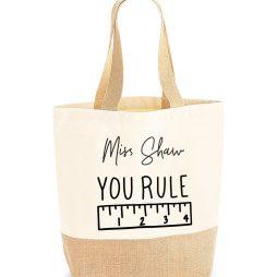 Personalised Teacher Gift Tote Jute Shopping Bag - You Rule