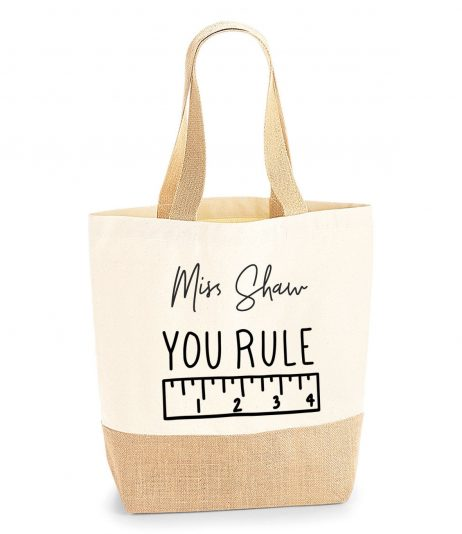 Personalised Teacher Gift Tote Jute Shopping Bag - You Rule