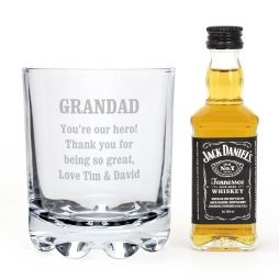 Personalised Tumbler and Jack Daniels Whiskey Miniature Gift Set P0107D91
