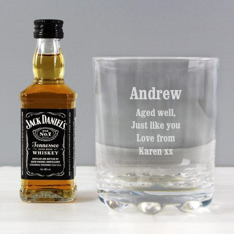 Personalised Tumbler and Jack Daniels Whiskey Miniature Gift Set