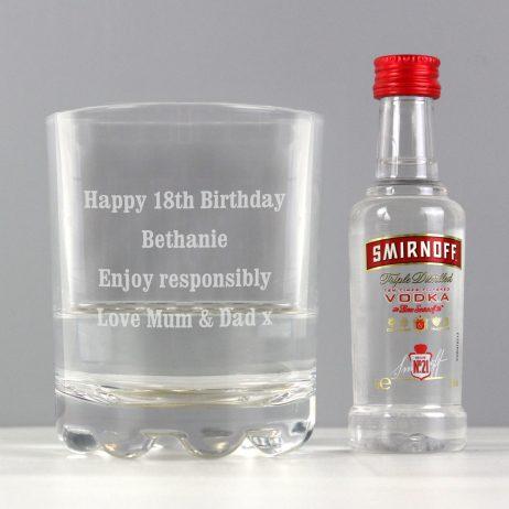 Personalised Tumbler and Smirnoff Vodka Miniature Set
