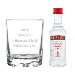 Personalised Tumbler and Smirnoff Vodka Miniature Set P0107D95
