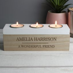 Personalised Classic Triple Tea Light Candle Holder Box
