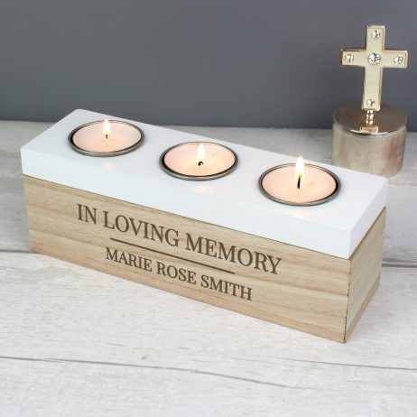 Personalised Classic Triple Tea Light Memorial Candle Holder Box