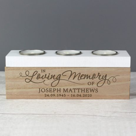 Personalised In Loving Memory Tea Light Candle Holder Box