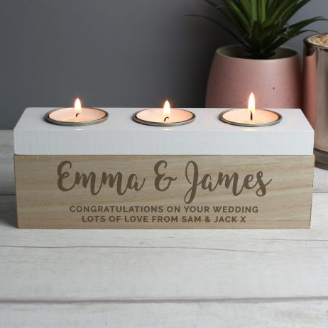 Personalised Married Couple Triple Tea Light Holder Box