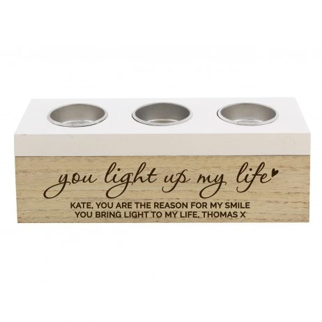 Personalised You Light Up My Life Triple Wooden Tea Light Candle Holder Trinket Box