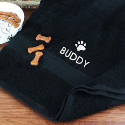 Personalised Pet Paw Big Black Bath Towel