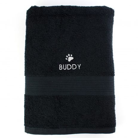 Personalised Pet Paw Big Black Bath Towel
