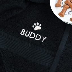 Personalised Pet Paw Black Bath Towel P0210C18