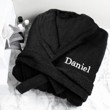Personalised Luxury Black Unisex Soft Dressing Gown with Embroided Name