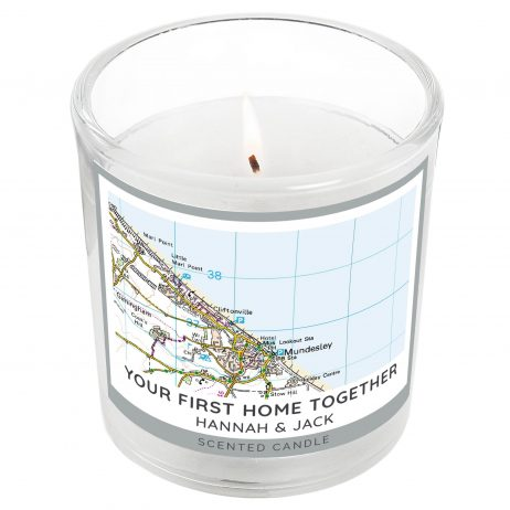 Personalised Present Day Map Compass Scented Jar Candle