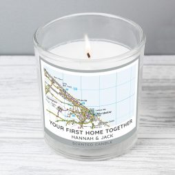 Personalised Present Day Map Compass Scented Jar Candle P0512AA07