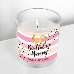 Personalised Birthday Gold and Pink Stripe Scented Jar Candle P0512AA84