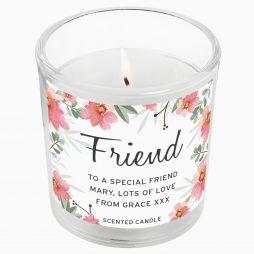 Birthday Gift For Her Personalised Friend Floral Sentimental Scented Jar Candle