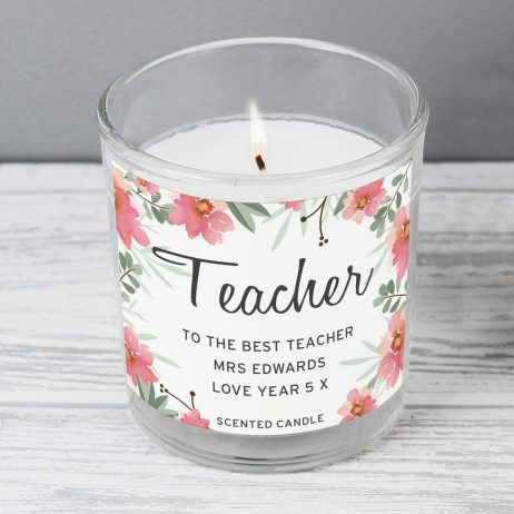 Teacher Gift - Personalised Floral Sentimental Scented Jar Candle