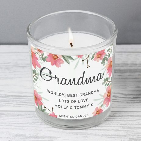 Birthday Gift For Her Personalised Grandma Floral Sentimental Scented Jar Candle
