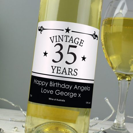 Personalised Vintage Age White Wine Birthday Gift