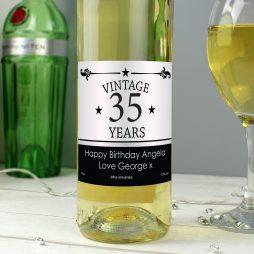 Personalised Vintage Age White Wine Birthday Gift