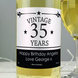 Personalised Vintage Numbers White Wine P0512P63