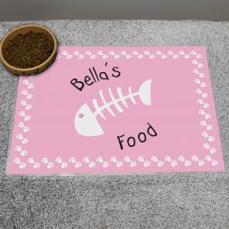 Personalised Pink Fish Bone Cat Placemat P0512Q40
