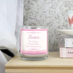 Personalised Sister Pink Elegant Scented Jar Candle