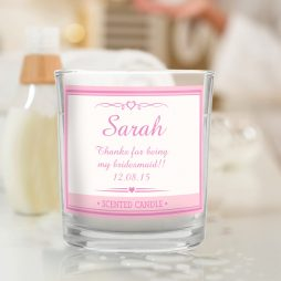 Personalised Bridesmaid Pink Elegant Scented Jar Candle P0512W25
