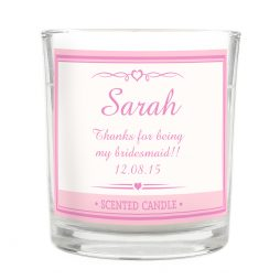Personalised Bridesmaid Pink Elegant Scented Jar Candle