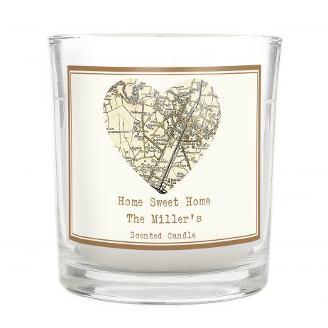 Personalised 1896 - 1904 Revised New Map Heart Scented Jar Candle