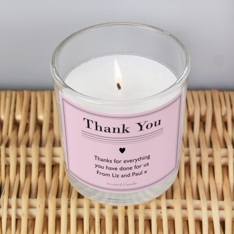 Personalised Thank You Classic Pink Scented Jar Candle
