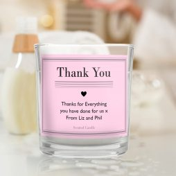 Personalised Thank You Classic Pink Scented Jar Candle P0512W36