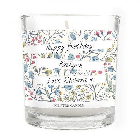 Personalised Happy Birthday Botanical Scented Jar Candle