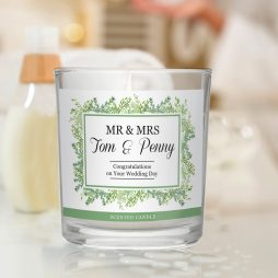 Personalised Wedding Fresh Botanical Scented Jar Candle