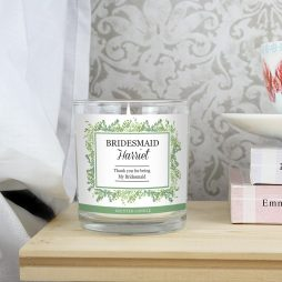 Personalised Bridesmaid Fresh Botanical Scented Jar Candle