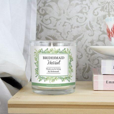 Personalised Bridesmaid Fresh Botanical Scented Jar Candle