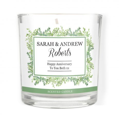 Personalised Anniversary Fresh Botanical Scented Jar Candle