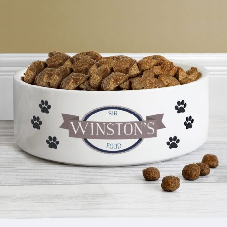Personalised Blue Paws Any Name and Message Medium White Pet Bowl - Dog or Cat 14cm