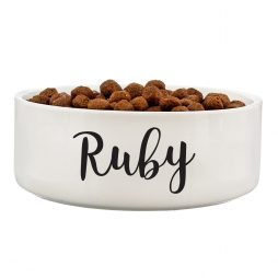 Personalised Medium White Ceramic Pet Bowl - Dog or Cat 14cm P0805I22